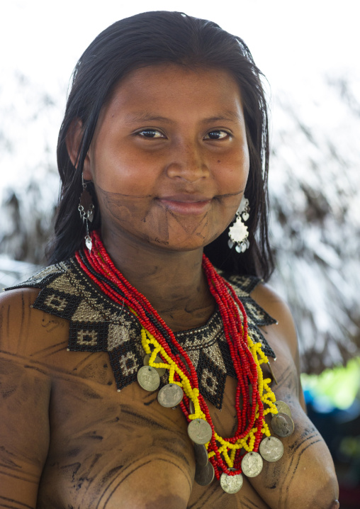 Panama, Darien Province, Bajo Chiquito, Woman Of The Native Indian Embera Tribe