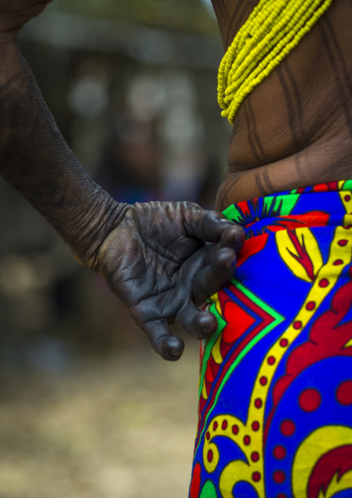 Panama, Darien Province, Bajo Chiquito, Woman Of The Native Indian Embera Tribe Hand Full Of Ink Close Up