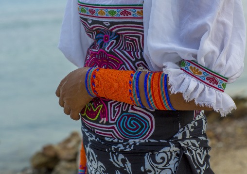 Panama, San Blas Islands, Mamitupu, A Kuna Indian Woman Wearing Beads Decoration On Her Arm