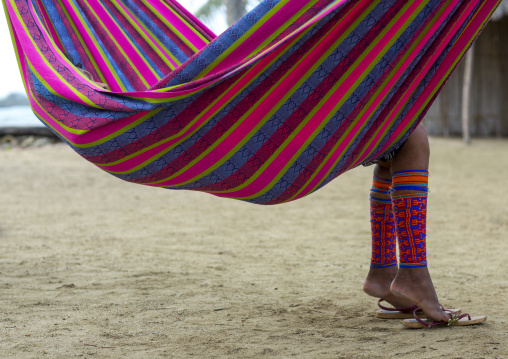 Panama, San Blas Islands, Mamitupu, Traditional Beaded Leg Ornaments Worn By A Kuna Woman Realxing In A Hammock