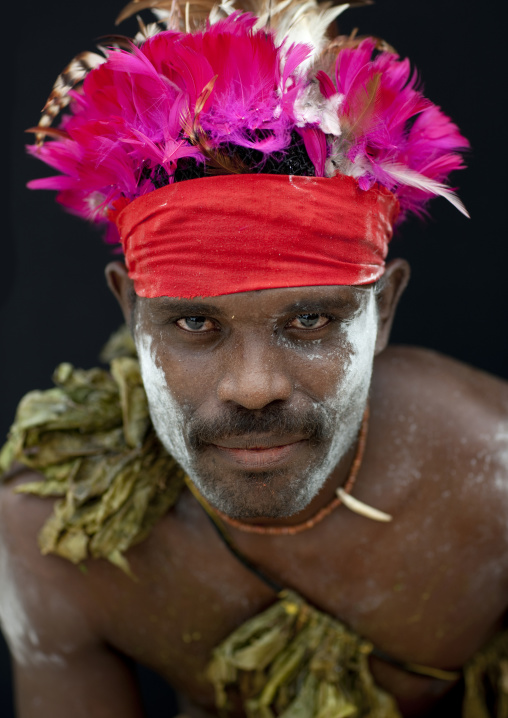 Portrait of a man from Paplieng tribe in traditional clothing, New Ireland Province, Kavieng, Papua New Guinea