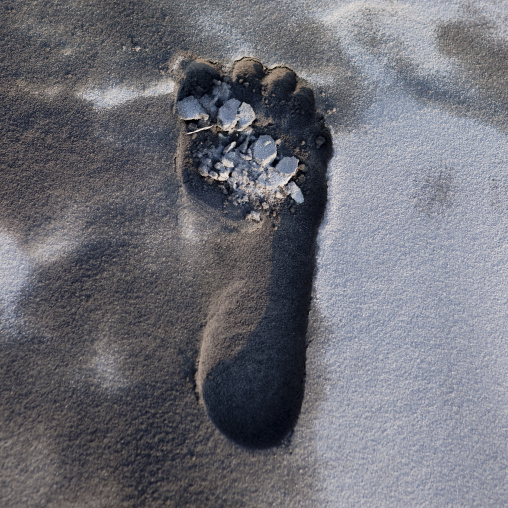 Footprint in the ash in  in tavurvur volcano, East New Britain Province, Rabaul, Papua New Guinea