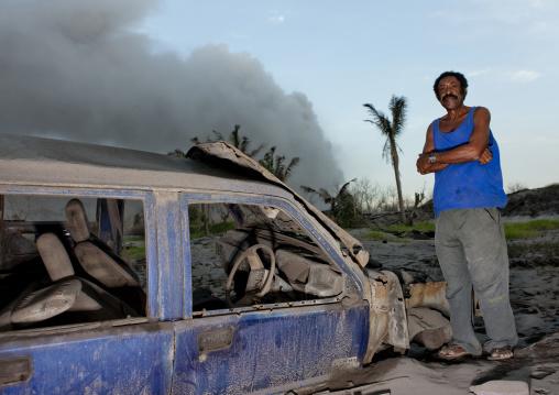 Mr jewakauckes in front of tavurvur volcano, East New Britain Province, Rabaul, Papua New Guinea