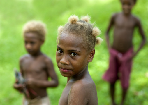 Children with blonde hair, East New Britain Province, Rabaul, Papua New Guinea