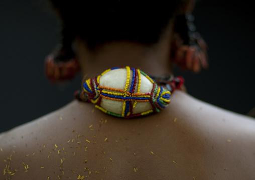 Shell necklace of a female tribal dancer , Milne Bay Province, Trobriand Island, Papua New Guinea