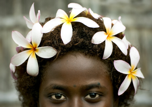 Girl with a floral crown, Autonomous Region of Bougainville, Bougainville, Papua New Guinea