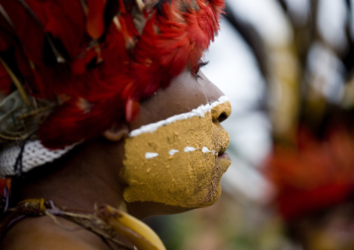 Chimbu tribe woman with giant headdress made of eagle feathers during a Sing-sing, Western Highlands Province, Mount Hagen, Papua New Guinea