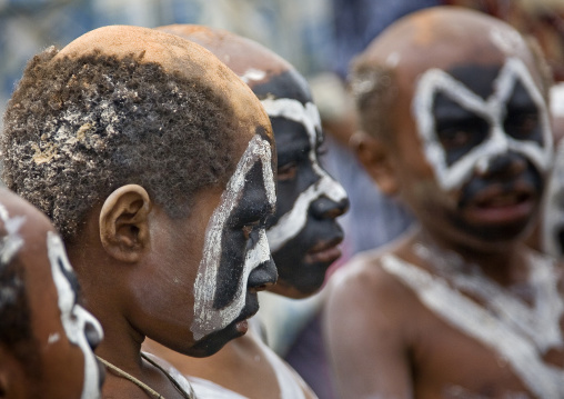 Khoril tribe boys during a sing sing, Western Highlands Province, Mount Hagen, Papua New Guinea