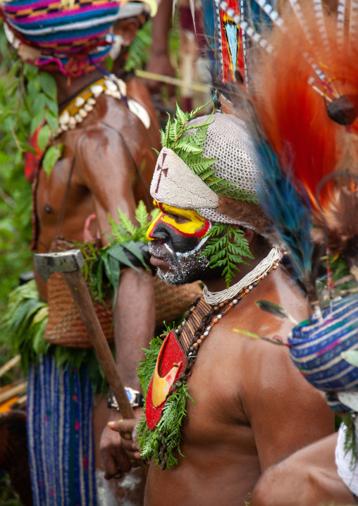 Highlander warriors with traditional clothing during a sing-sing, Western Highlands Province, Mount Hagen, Papua New Guinea