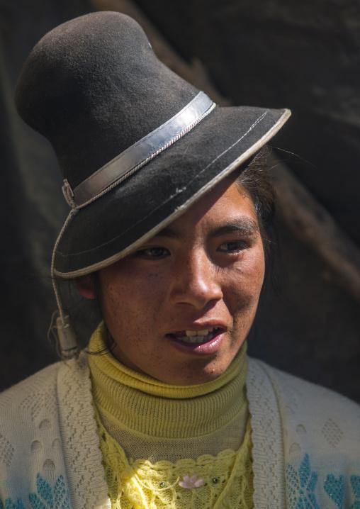Woman With Traditional Hat, Qoyllur Riti Festival, Ocongate Cuzco, Peru