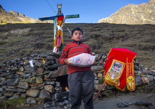 Child With A Toy Tractor Bought At Qoyllur Riti Festival, Ocongate Cuzco, Peru