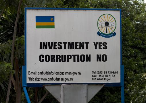 No corruption campain billboard, Lake Kivu, Gisenye, Rwanda