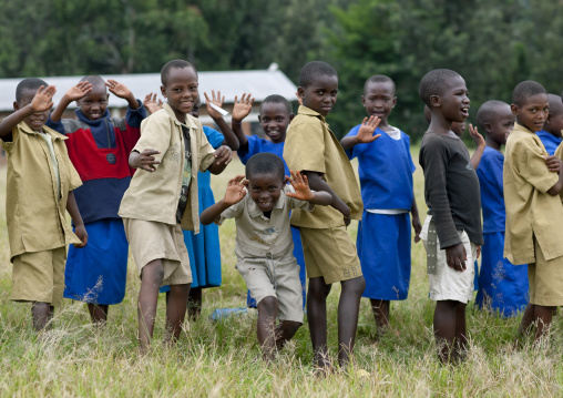 Rwandan pupils outside of a school, Lake Kivu, Gisenye, Rwanda