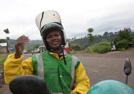 Taxi moto man, Lake Kivu, Gisenye, Rwanda