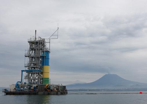 Methane gas in front of nyiragongo congo volcano, Lake Kivu, Gisenye, Rwanda