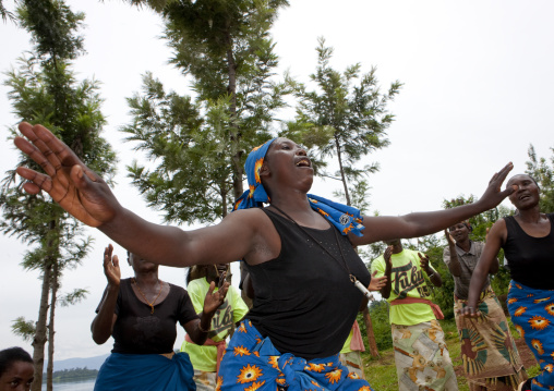 Rwandan women performing a traditional dance, Lake Kivu, Nkombo, Rwanda