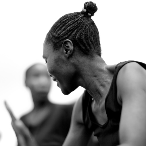 Traditional dance during a folklore event in a village, Lake Kivu, Nkombo, Rwanda