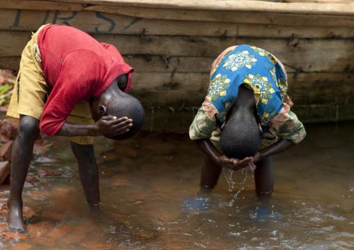 Children washing their heads, Lake Kivu, Nkombo, Rwanda