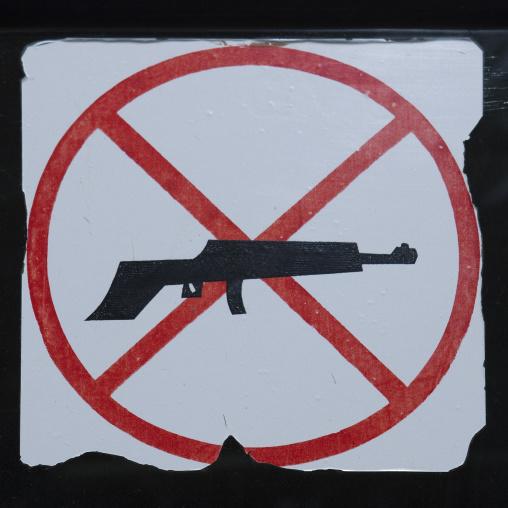 No gun sign on a car, Western Province, Rusizi, Rwanda