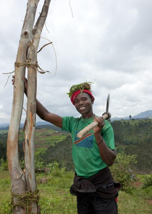 Lumberjack in the countryside, Nyungwe Forest National Park, Gisakura, Rwanda