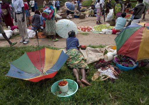 Rwandan women selling stuff in a market, Kigali Province, Kigali, Rwanda