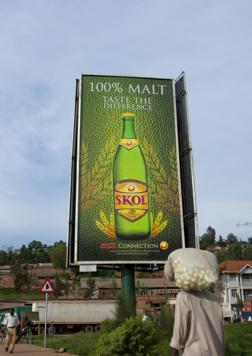 Advertisement billboard for a beer in the street, Kigali Province, Kigali, Rwanda