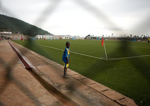 Rwandan boy during a football match, Kigali Province, Kigali, Rwanda