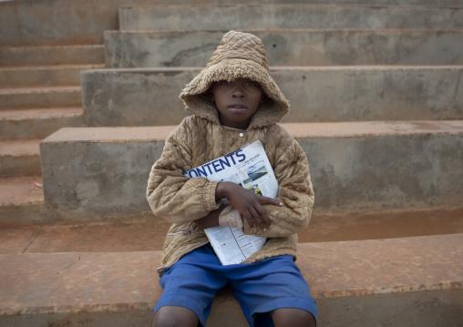 Rwandan boy with hot clothes, Kigali Province, Kigali, Rwanda