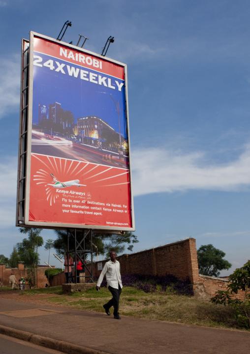 Kenya airways adverstising in the street, Kigali Province, Kigali, Rwanda