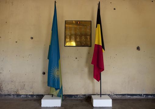 Rwandan and belgian flags in camp kigali memorial site, Kigali Province, Kigali, Rwanda