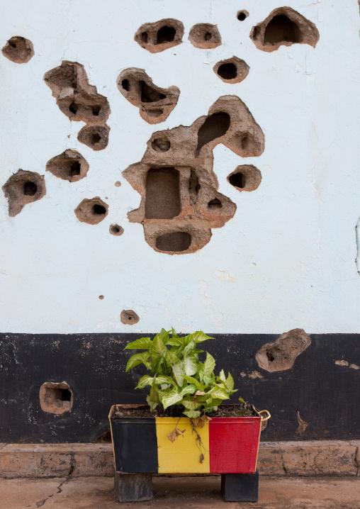Bullets holes in camp kigali memorial site, Kigali Province, Kigali, Rwanda