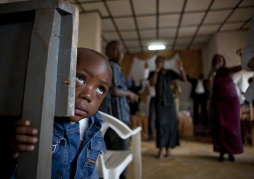 Rwandan children during a sunday mass in a church, Kigali Province, Kigali, Rwanda