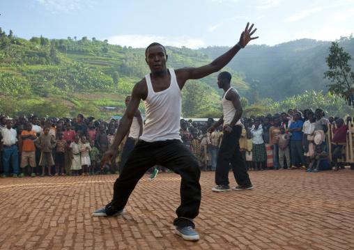 Rwandan hip hop dancer performing in a village, Kigali Province, Nyirangarama, Rwanda