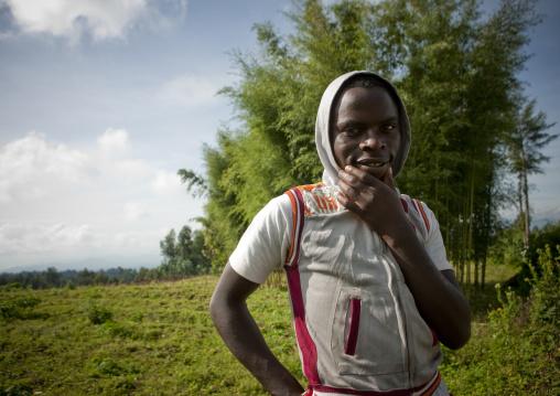 Rwandan man in the volcanoes national park, Northwest Province, Rehengeri, Rwanda