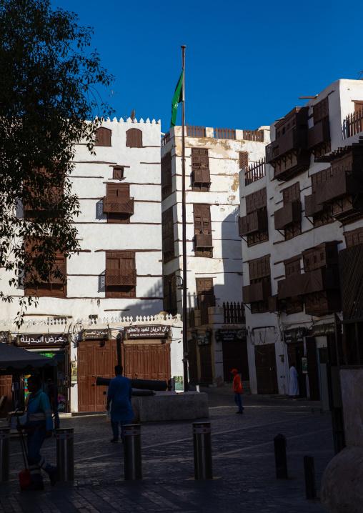 Old houses with wooden mashrabiya in al-Balad quarter, Mecca province, Jeddah, Saudi Arabia