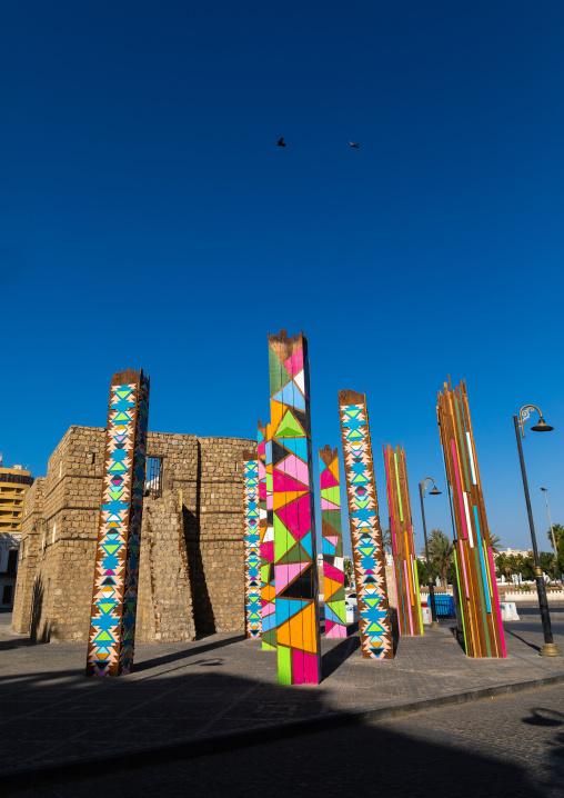 Multi colored modern art columns in bab sharif city gate, Mecca province, Jeddah, Saudi Arabia