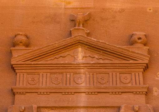 Top of the entrance of a tomb in al-Hijr archaeological site in Madain Saleh, Al Madinah Province, Alula, Saudi Arabia
