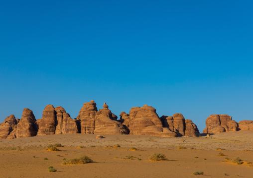 Rocky landscape of Madain Saleh, Al Madinah Province, Alula, Saudi Arabia