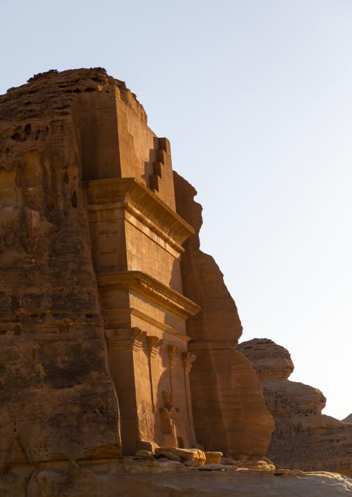 Side view of qasr al-Farid tomb of Lihyan son of Kuza in Madain Saleh, Al Madinah Province, Alula, Saudi Arabia