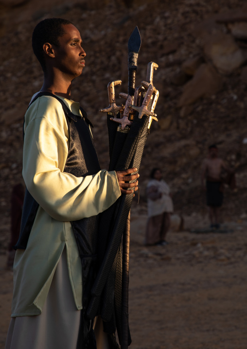 Saudi actor during an historical play in an open air theater in Madain Saleh, Al Madinah Province, Alula, Saudi Arabia