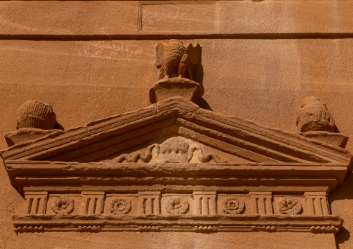 Top of the entrance of a tomb in al-Hijr archaeological site in Madain Saleh, Al Madinah Province, Alula, Saudi Arabia