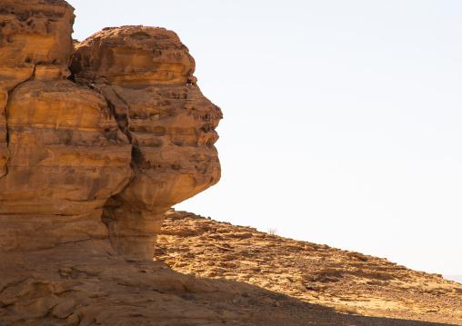 Rock formations that resemble human face in Madain Saleh, Al Madinah Province, Alula, Saudi Arabia