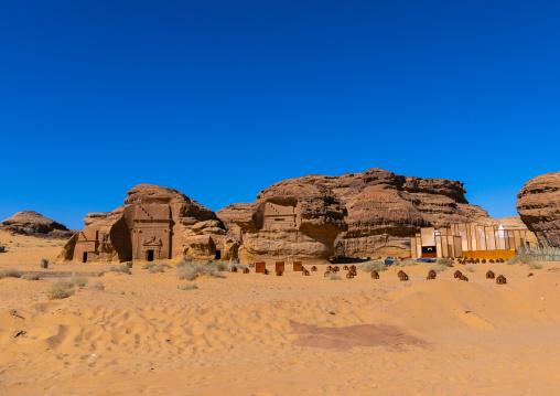 Restaurant in the middle of nabataean tombs in Madain Saleh for Tantora festival, Alula, Saudi Arabia