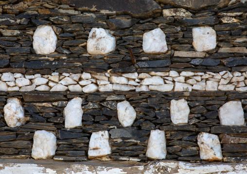 Rijal Almaa heritage village wall detail, Asir province, Rijal Alma, Saudi Arabia