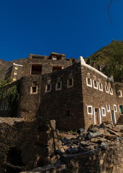 Multi-storey houses made of stones, Asir province, Rijal Alma, Saudi Arabia