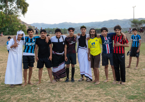 Saudi young men playing football, Jizan province, Alaydabi, Saudi Arabia