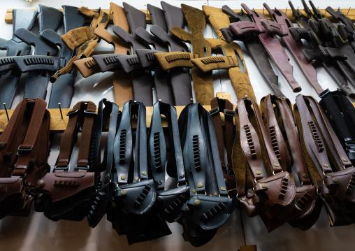 Traditional leather holsters to carry guns and kalashnikovs, Jizan province, Addayer, Saudi Arabia