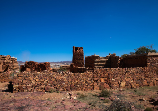 Red stone and mud houses with slates in a village, Asir province, Sarat Abidah, Saudi Arabia