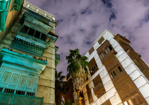 Historic house with wooden mashrabiyas in al-Balad quarter at night, Mecca province, Jeddah, Saudi Arabia