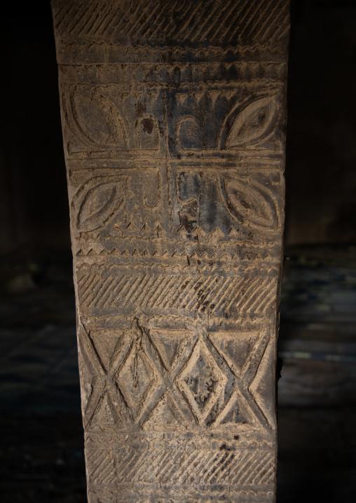 Wooden pillar in an old house of al-Namas fort, Al-Bahah region, Altawlah, Saudi Arabia
